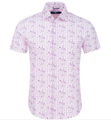 Stone Rose Bright Purple Mushroom Print Knit Short Sleeve Shirt