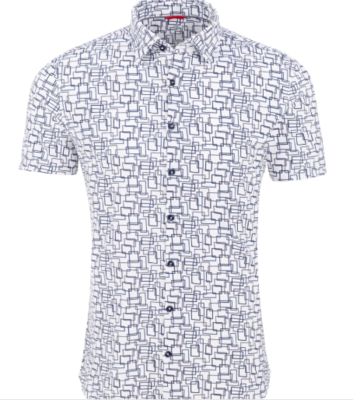 Stone Rose Blue Novelty Performance Short Sleeve Shirt