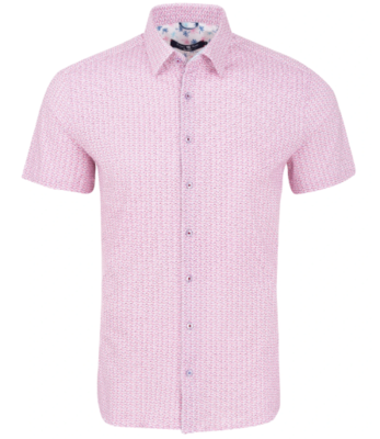 Stone Rose Pink Sailboat Print Knit Short Sleeve Shirt