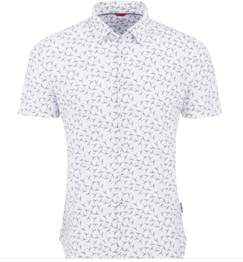 Stone Rose White Dragonfly Performance Knit Short Sleeve Shirt