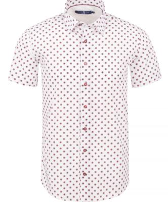 Stone Rose Pink Geometric Knit Short Sleeve Shirt