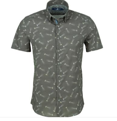 Stone Rose Grey Jelly Fish Print Short Sleeve Shirt