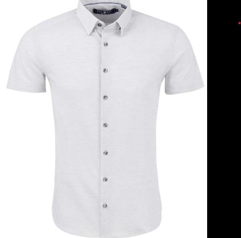 Stone Rose Light Gray Pique Knit Short Sleeve Shirt