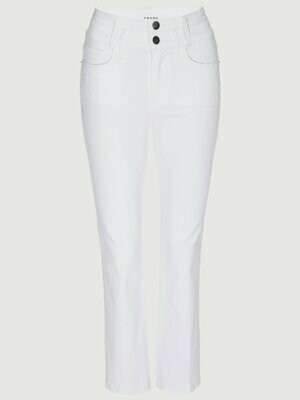 Frame Denim Le Crop Mini Boot Double Waistband in White