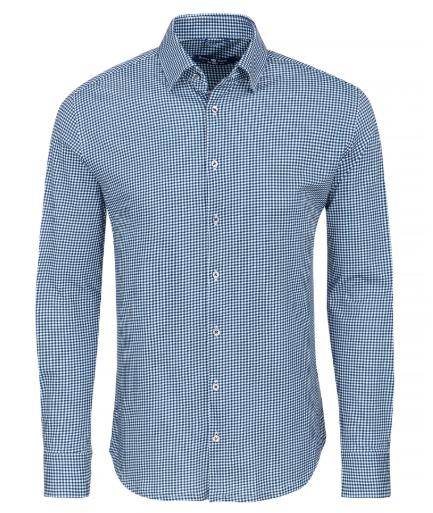 Stone Rose Navy Check Knit Long Sleeve Shirt