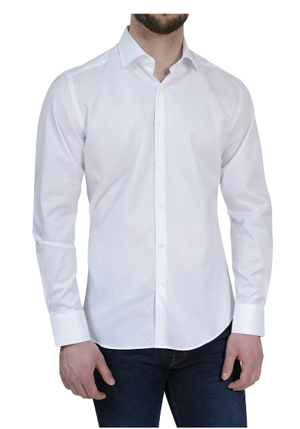 Stone Rose Tonal Stripe White Button Up Long Sleeve Shirt