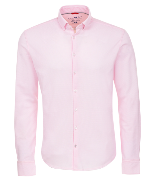 Stone Rose Pink Textured Knit Performance  Long Sleeve Shirt