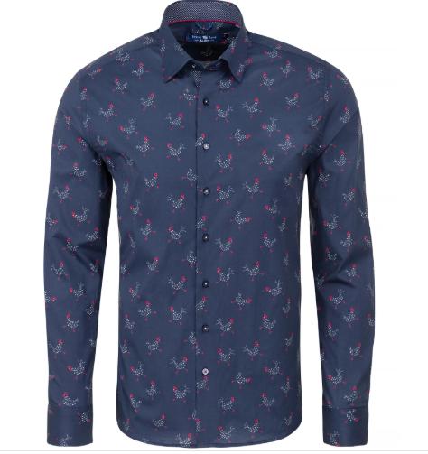 Stone Rose Navy Chicken Print Long Sleeve Shirt