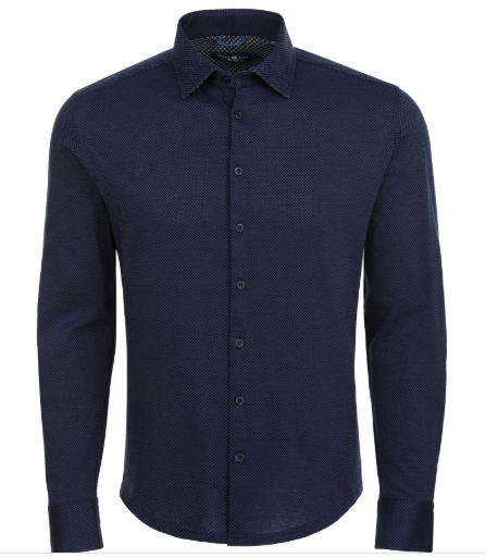 Stone Rose Navy Check Long Sleeve Shirt
