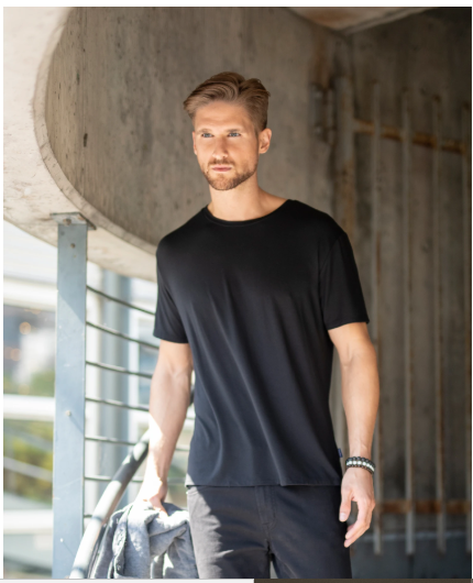 Stone Rose Black Crew Neck Modal T-Shirt