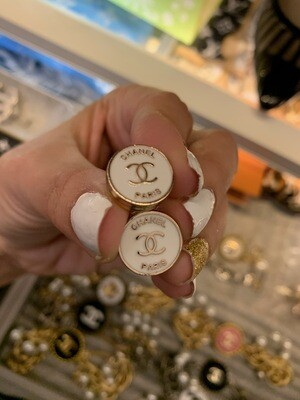 Vintage Chanel Button Post Earrings