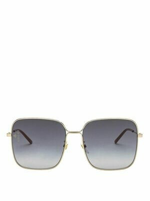 Gucci Rectangle Metal Sunglasses In Black/Gold