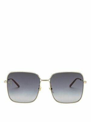 Gucci Rectangle Metal Sunglasses In Black/Gold