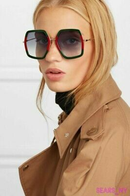 Gucci Oversize Red And Green Square Frame Metal Sunglasses  W
