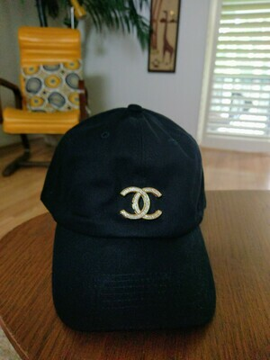 Black With Gold CC Adjustable Baseball Hat