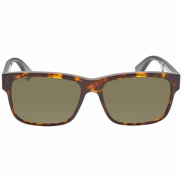 Gucci Tortoise Shell Rectangular Sunglasses With Green Lens