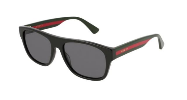 Gucci Square Polarized Unisex Sunglasses in Black With Grey Lenses