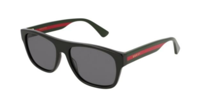 Gucci Square Polarized Unisex Sunglasses in Black With Grey Lenses