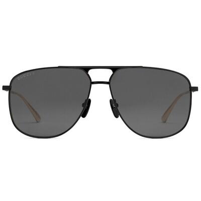 Gucci Men's Black Polarized Aviator Sunglasses With Grey Lens