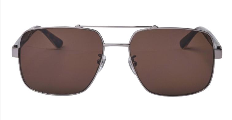 Gucci Men's Square Ruthenium Black Sunglasses With Grey Lens