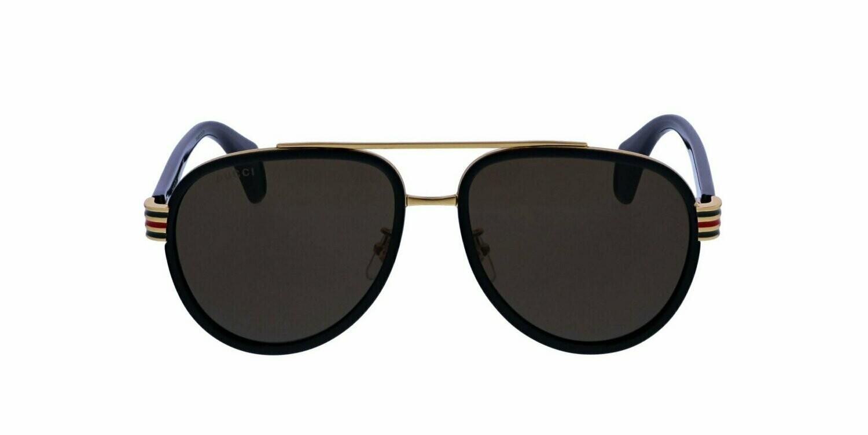 Gucci Men's Aviators in Havana Brown and Gold With Grey Lens
