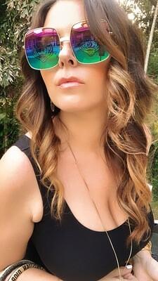 Gucci Gold Metal Logo Sunglasses Rainbow Mirror Tiger Logo Lens