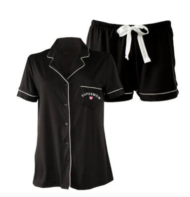 LA Trading Company Super Mom Short Set In Black