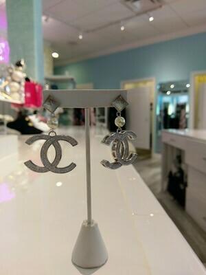 Silver Interlocking CC With Rhinestones Drop Earrings