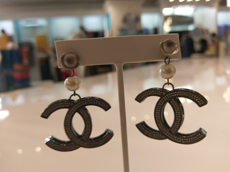 Dark Silver Interlocking CC With Rhinestones Drop Earrings