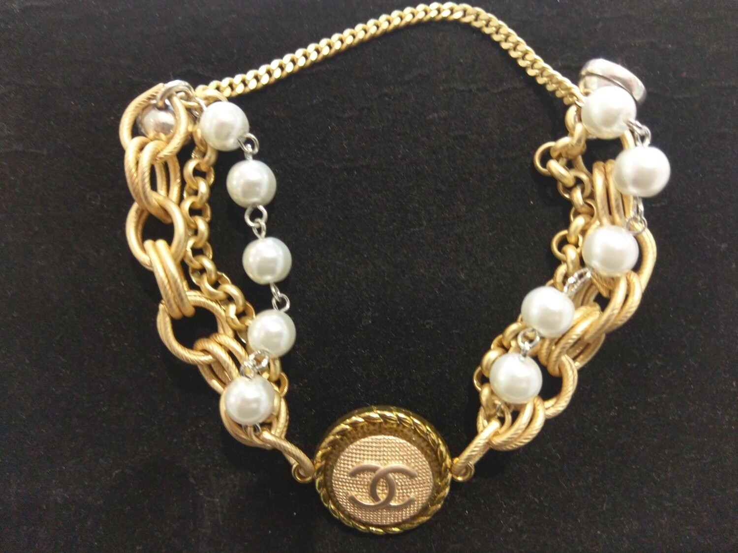 Vintage Chanel  Button Bracelet With Multi-Strands And Gold Button