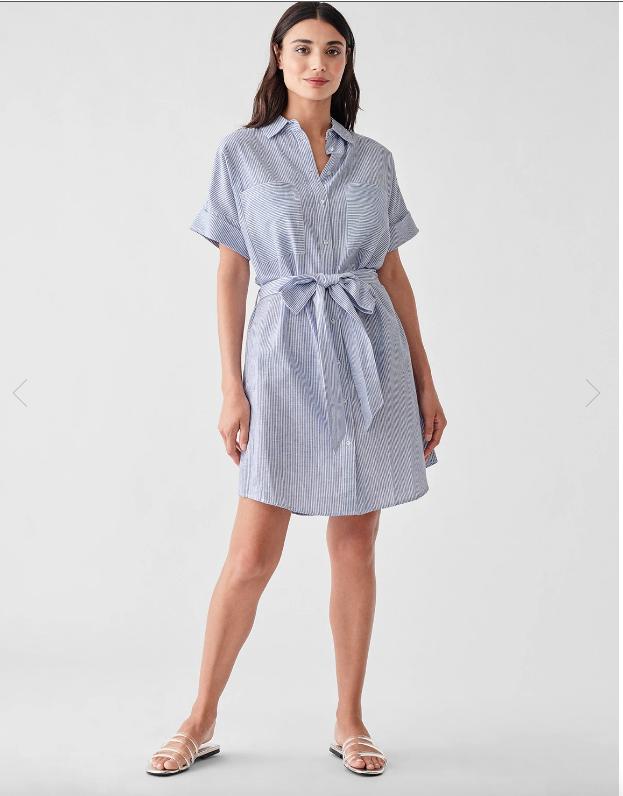 DL 1961 Cranberry St. Dress in Blue Stripe