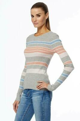 360 Sweater Cypress Sweater in Light Heather Grey and Antique Rose Multi