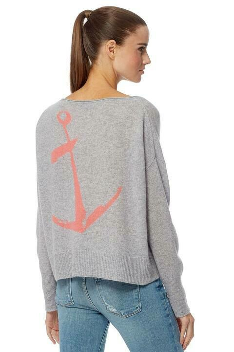 360 Greyson Sweater in Heather Grey and Papaya