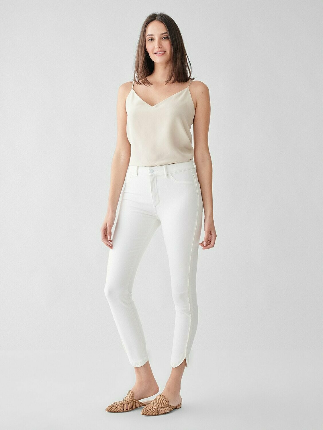 DL 1961 Farrow Cropped High Rise Skinny Jean in Quill