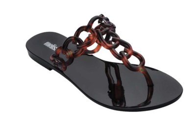 Melissa Big Chain AD Flip Flop in Black and Tortoise