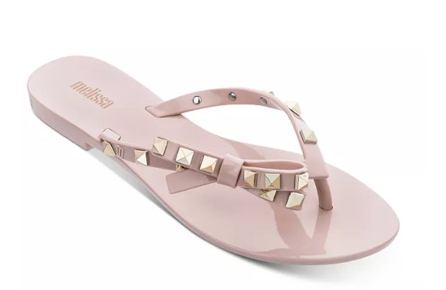 Melissa Harmonic Gold Stud Sandals in Pink