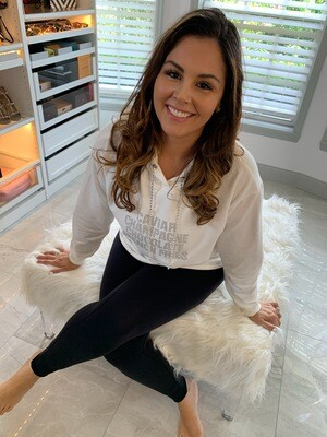 Jackie Z Favorite Things Sparkly Hooded Sweatshirt in Off White