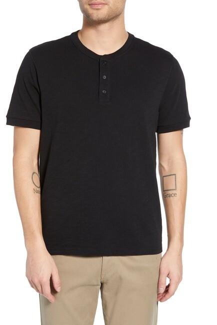 Vince Men's Classic Short Sleeve Henley T-Shirt In Black