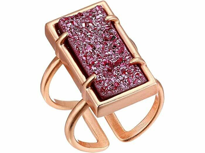 Kendra Scott Deep Fuscia Drusy Lennox Ring in Rose Gold