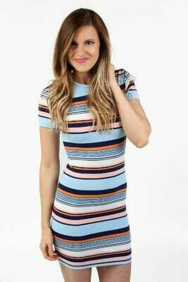 French Connection Byatt Striped Tee Dress in Blue and Multi Colors