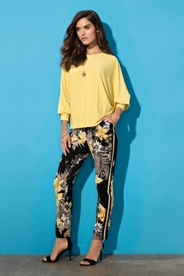 Frank Lyman Floral Track Pant in Yellow and Black