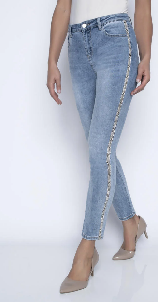 Frank Lyman Jeans with Snakeskin and Rhinestone embellishment in Faded Blue