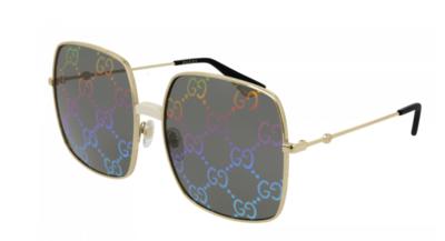 Gucci Gold Metal Logo Sunglasses Rainbow Mirror GG Logo Lens