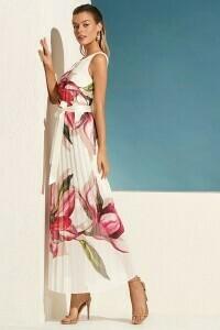 Frank Lyman Floral Chiffon Dress in Fuchsia and White