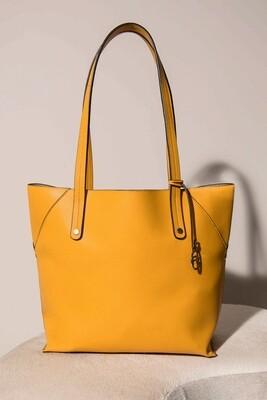 Frank Lyman Vegan Leather Bucket Bag in Marigold