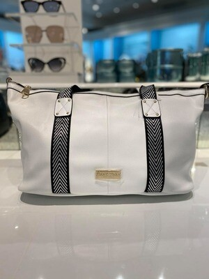 Frank Lyman Vegan Leather Tote In Black And White