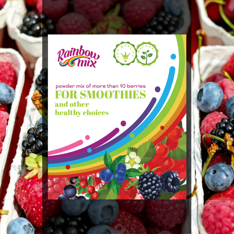 """""""Rainbow"""" berries powder mix - of more than 10 berries - For smoothies and other healthy choices 