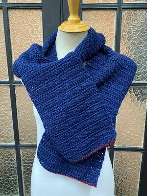 Navy Scarf with Maroon Trim