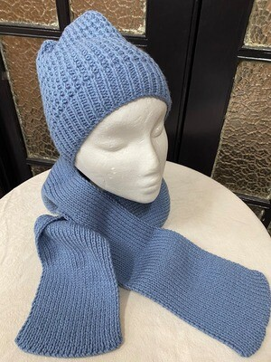 Dusty Blue Scarf and Beanie Set