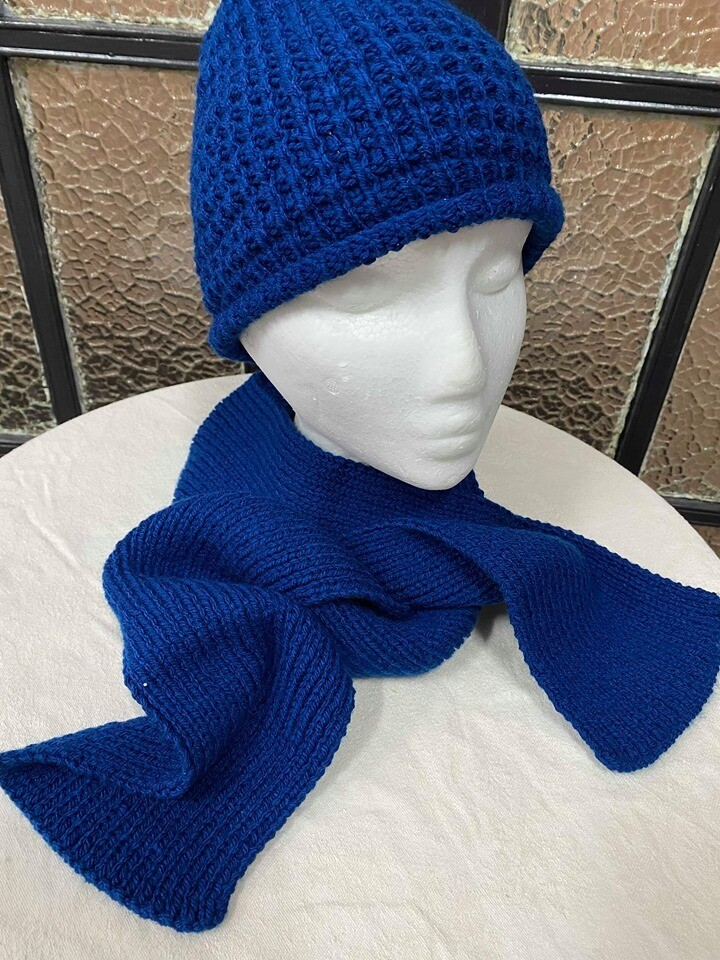 Navy Blue Scarf and Beanie Set